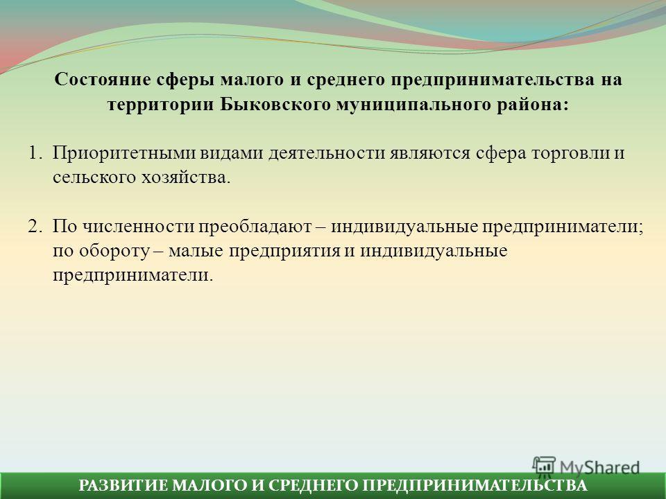 Состояние сферы малого и среднего предпринимательства на территории Быковского муниципального района: 1.Приоритетными видами деятельности являются сфера торговли и сельского хозяйства. 2.По численности преобладают – индивидуальные предприниматели; по