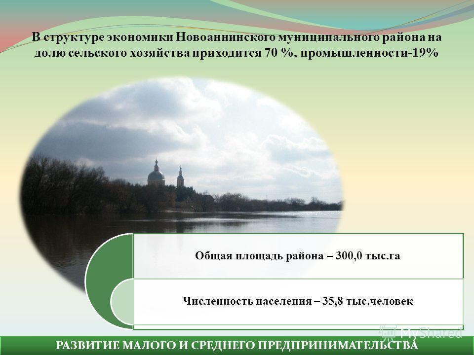 РАЗВИТИЕ МАЛОГО И СРЕДНЕГО ПРЕДПРИНИМАТЕЛЬСТВА Общая площадь района – 300,0 тыс.га Численность населения – 35,8 тыс.человек В структуре экономики Новоаннинского муниципального района на долю сельского хозяйства приходится 70 %, промышленности-19%