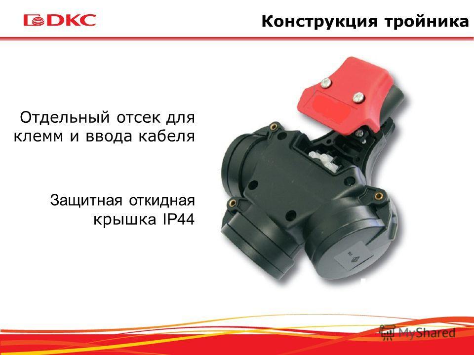 Отдельный отсек для клемм и ввода кабеля Защитная откидная крышк а IP44 Конструкция тройника