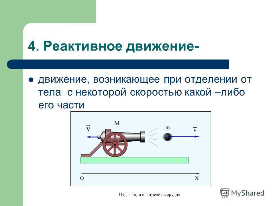 4. Реактивное движение- движение, возникающее при отделении от тела с некоторой скоростью какой –либо его части Отдача при выстреле из орудия.