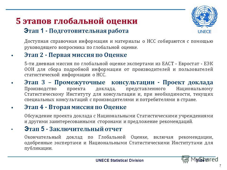 UNECE Statistical Division Slide 7 5 этапов глобальной оценки Э тап 1 - Подготовительная работа Доступная справочная информация и материалы о НСС собираются с помощью руководящего вопросника по глобальной оценке. Этап 2 - Первая миссия по Оценке 5-ти