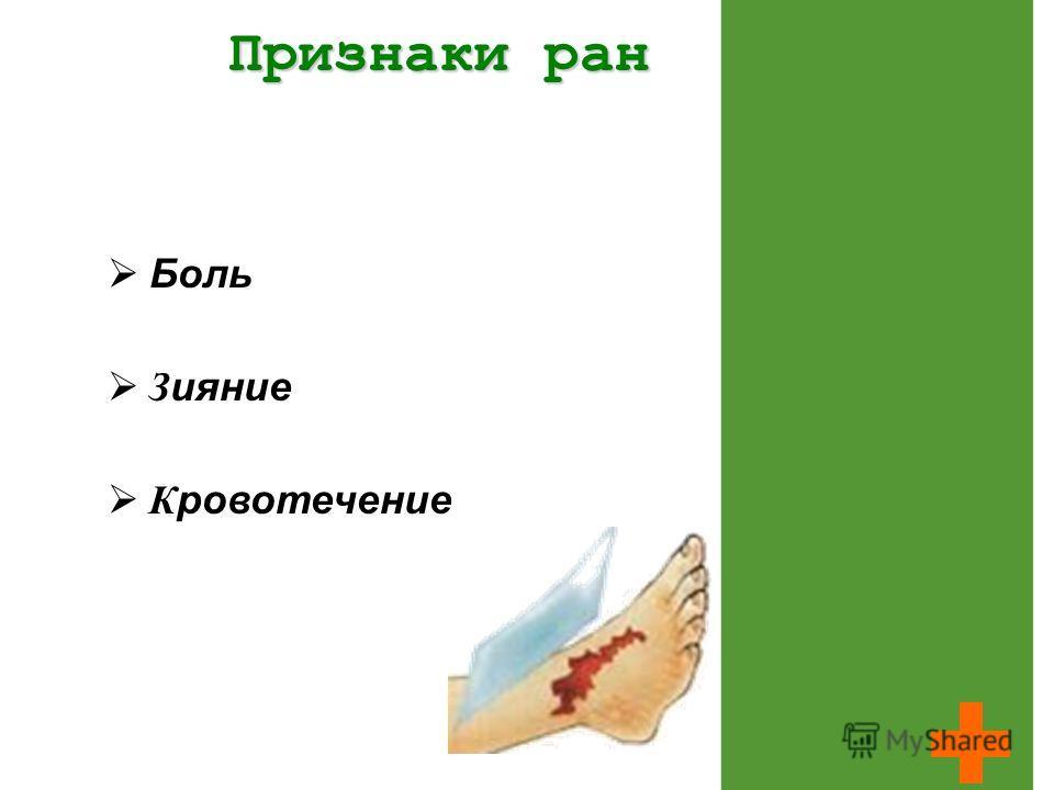 Признаки ран Боль З ияние К ровотечение
