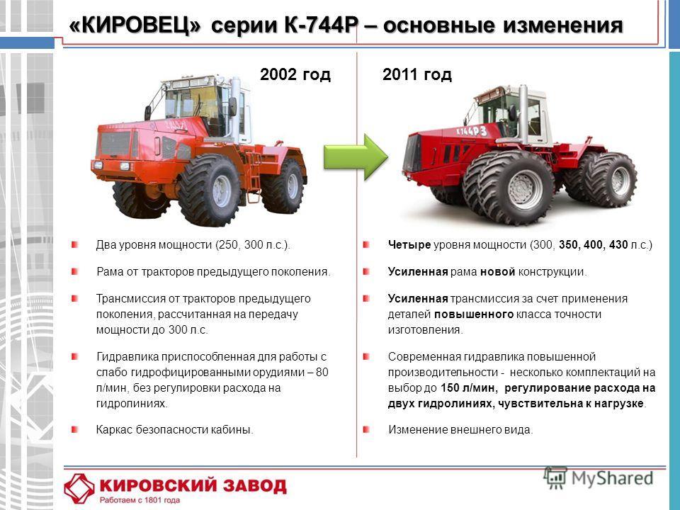 Два уровня мощности (250, 300 л.с.). Рама от тракторов предыдущего поколения. Трансмиссия от тракторов предыдущего поколения, рассчитанная на передачу мощности до 300 л.с. Гидравлика приспособленная для работы с слабо гидрофицированными орудиями – 80