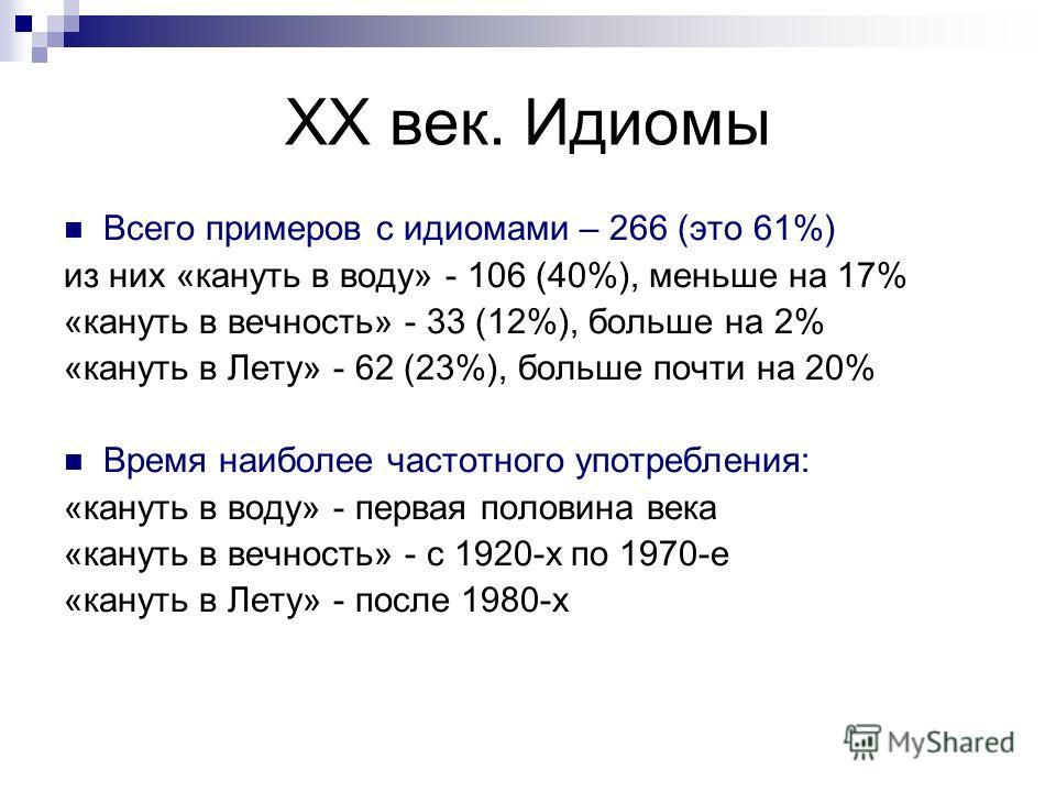 XX век. Идиомы Всего примеров с идиомами – 266 (это 61%) из них «кануть в воду» - 106 (40%), меньше на 17% «кануть в вечность» - 33 (12%), больше на 2% «кануть в Лету» - 62 (23%), больше почти на 20% Время наиболее частотного употребления: «кануть в