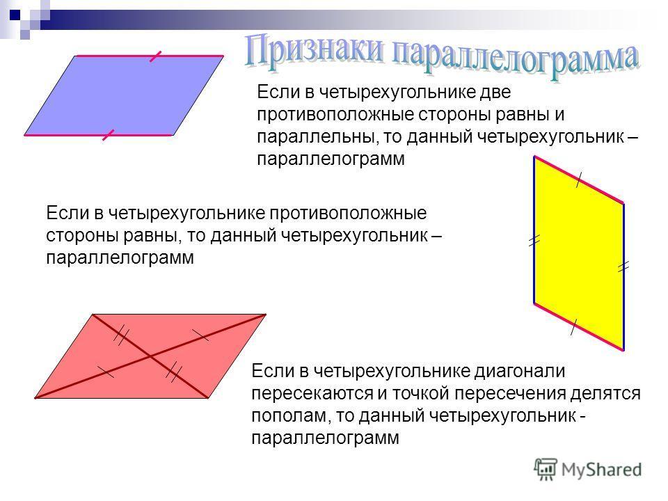 Если в четырехугольнике две противоположные стороны равны и параллельны, то данный четырехугольник – параллелограмм Если в четырехугольнике противоположные стороны равны, то данный четырехугольник – параллелограмм Если в четырехугольнике диагонали пе