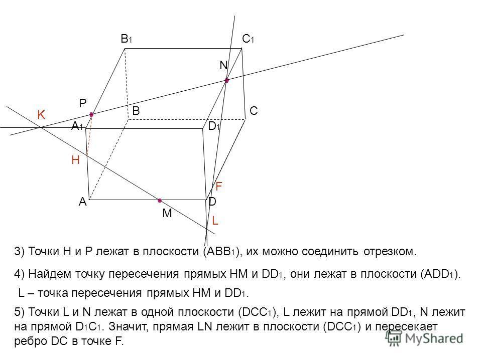 А ВС D А1А1 В1В1 С1С1 D1D1 M N P K H 3) Точки H и Р лежат в плоскости (ABB 1 ), их можно соединить отрезком. 4) Найдем точку пересечения прямых HM и DD 1, они лежат в плоскости (АDD 1 ). L L – точка пересечения прямых HM и DD 1. 5) Точки L и N лежат