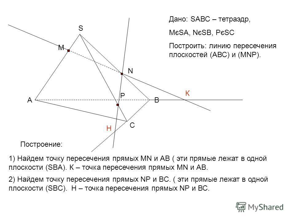 Дано: SАВС – тетраэдр, МєSA, NєSB, PєSC Построить: линию пересечения плоскостей (АВС) и (MNP). 1) Найдем точку пересечения прямых MN и АВ ( эти прямые лежат в одной плоскости (SBA). АB C S M N P К Построение: К – точка пересечения прямых MN и АВ. 2)