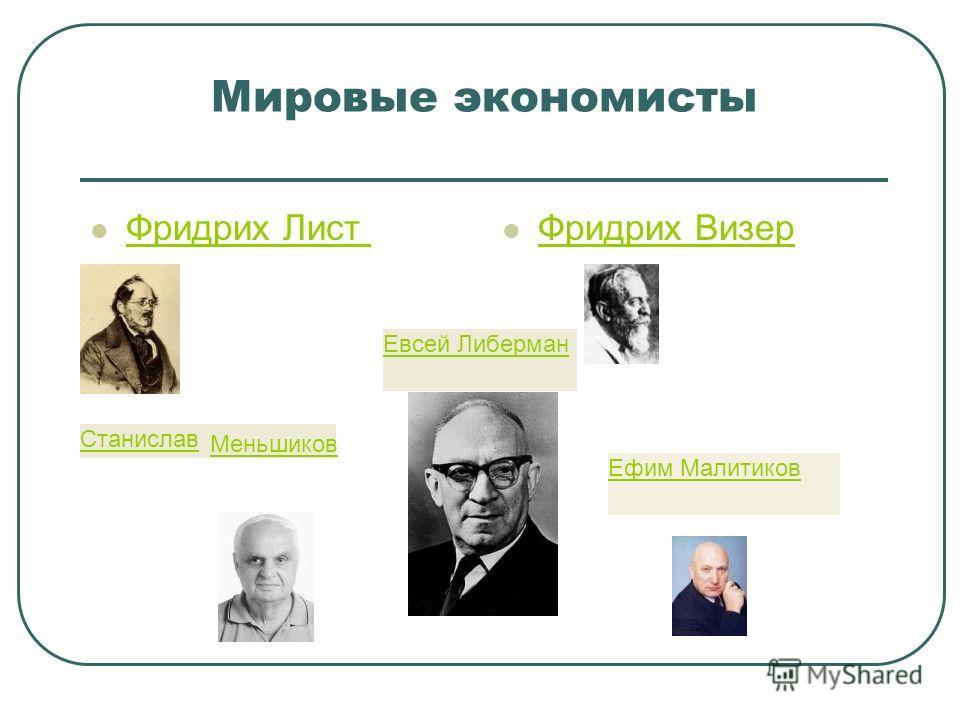 Мировые экономисты Фридрих Лист Фридрих Визер Станислав Меньшиков Ефим Малитиков Евсей Либерман
