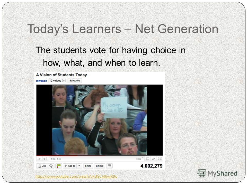 Todays Learners – Net Generation The students vote for having choice in how, what, and when to learn. http://www.youtube.com/watch?v=dGCJ46vyR9o