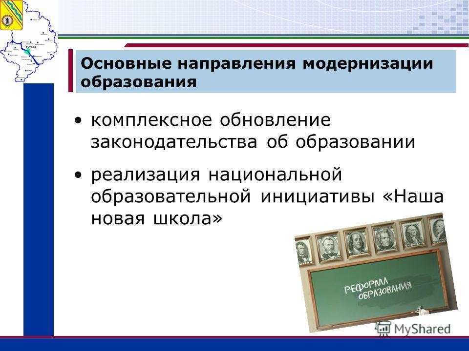 Основные направления модернизации образования комплексное обновление законодательства об образовании реализация национальной образовательной инициативы «Наша новая школа»