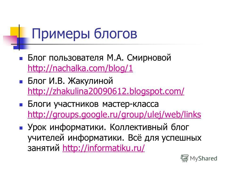 Примеры блогов Блог пользователя М.А. Смирновой http://nachalka.com/blog/1 http://nachalka.com/blog/1 Блог И.В. Жакулиной http://zhakulina20090612.blogspot.com/ http://zhakulina20090612.blogspot.com/ Блоги участников мастер-класса http://groups.googl