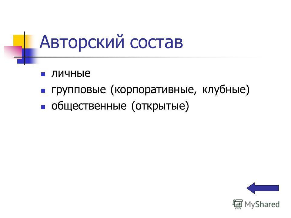 Авторский состав личные групповые (корпоративные, клубные) общественные (открытые)