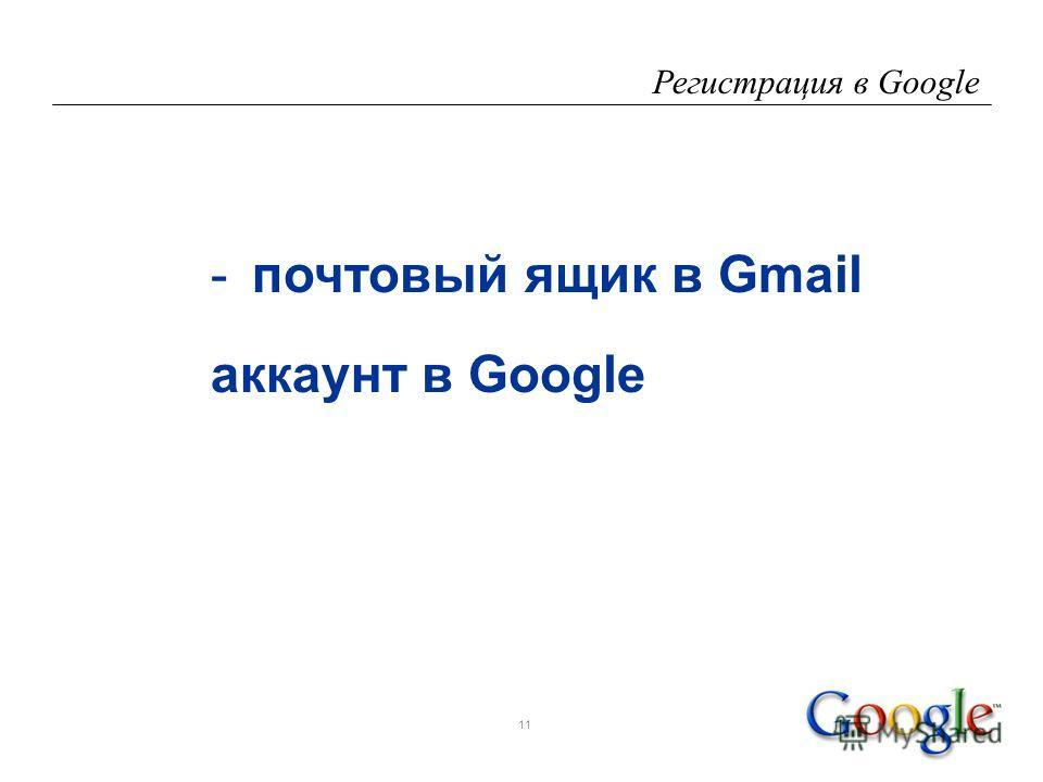 11 Регистрация в Google -почтовый ящик в Gmail аккаунт в Google
