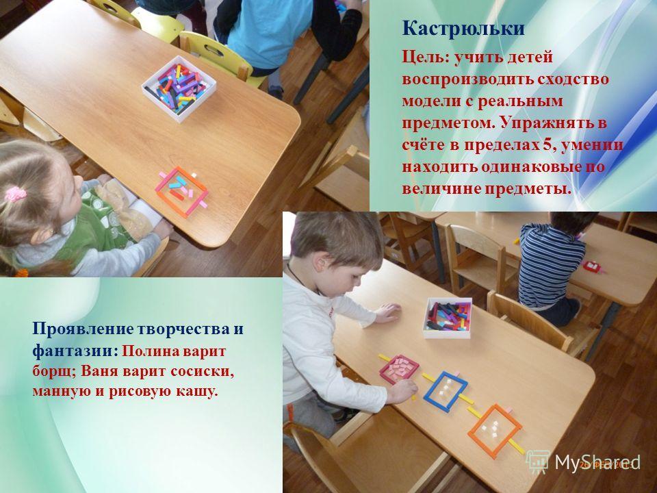 Кастрюльки Цель: учить детей воспроизводить сходство модели с реальным предметом. Упражнять в счёте в пределах 5, умении находить одинаковые по величине предметы. Проявление творчества и фантазии: Полина варит борщ; Ваня варит сосиски, манную и рисов