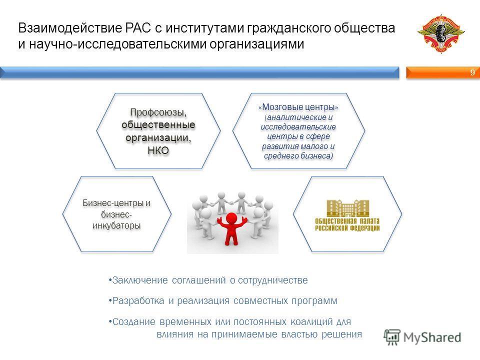 9 9 Взаимодействие РАС с институтами гражданского общества и научно-исследовательскими организациями Заключение соглашений о сотрудничестве Разработка и реализация совместных программ Создание временных или постоянных коалиций для влияния на принимае