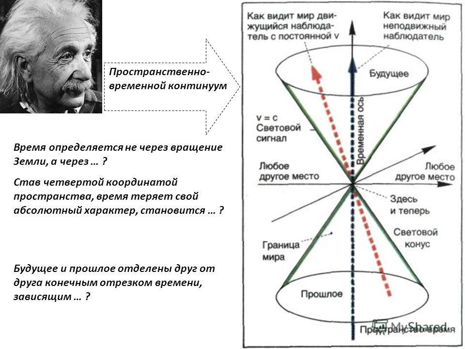 Время определяется не через вращение Земли, а через … ? Став четвертой координатой пространства, время теряет свой абсолютный характер, становится … ? Будущее и прошлое отделены друг от друга конечным отрезком времени, зависящим … ? Пространственно-