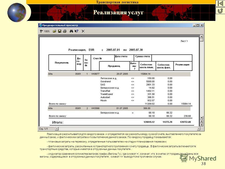 Транспортная логистика 38 Реализация услуг Реализация рассчитывается для каждого заказа и определяется как разность между суммой счета, выставленного покупателю за данный заказ, и фактическими затратами по выполнению данного заказа. По каждому продав