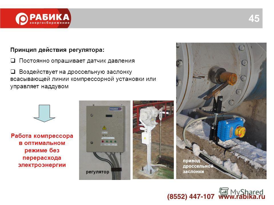 45 Принцип действия регулятора: Постоянно опрашивает датчик давления Воздействует на дроссельную заслонку всасывающей линии компрессорной установки или управляет наддувом Работа компрессора в оптимальном режиме без перерасхода электроэнергии привод д