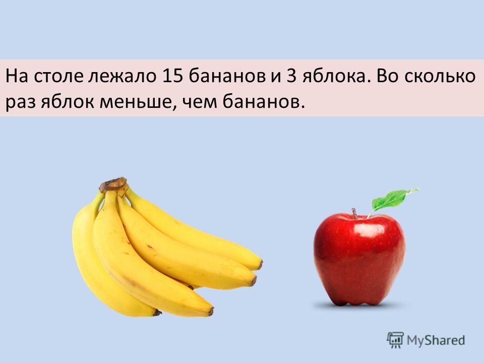 На столе лежало 15 бананов и 3 яблока. Во сколько раз яблок меньше, чем бананов.