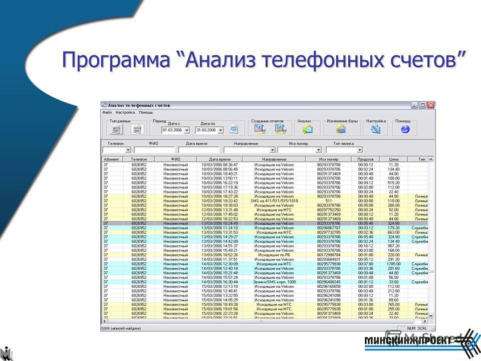 Программа Анализ телефонных счетов Назначение: Производит анализ телефонных счетов служащих предприятия. Возможности: Разбор файлов счетов приходящих от МГТС и VELCOM; Анализ звонков по типу: служебные, личные и неопознанные; Составление суммарного и