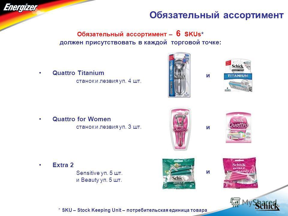 - RUSSIA - Обязательный ассортимент Обязательный ассортимент – 6 SKUs* должен присутствовать в каждой торговой точке: Quattro Titanium станок и лезвия уп. 4 шт. Quattro for Women станок и лезвия уп. 3 шт. Extra 2 Sensitive уп. 5 шт. и Beauty уп. 5 шт