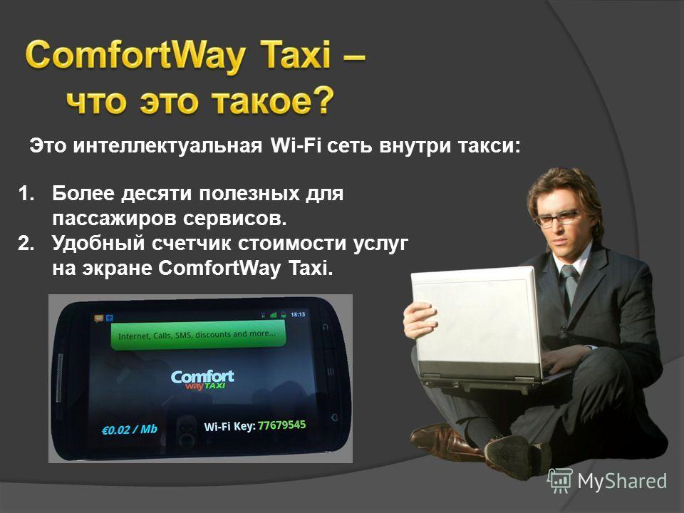 Это интеллектуальная Wi-Fi сеть внутри такси: 1.Более десяти полезных для пассажиров сервисов. 2.Удобный счетчик стоимости услуг на экране ComfortWay Taxi.