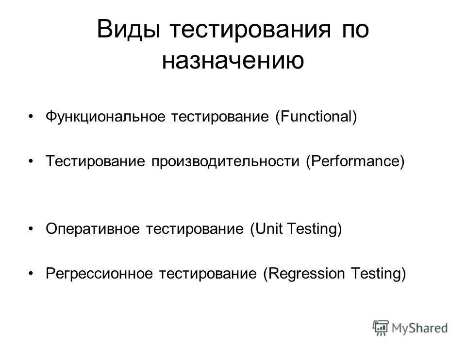 Виды тестирования по назначению Функциональное тестирование (Functional) Тестирование производительности (Performance) Оперативное тестирование (Unit Testing) Регрессионное тестирование (Regression Testing)