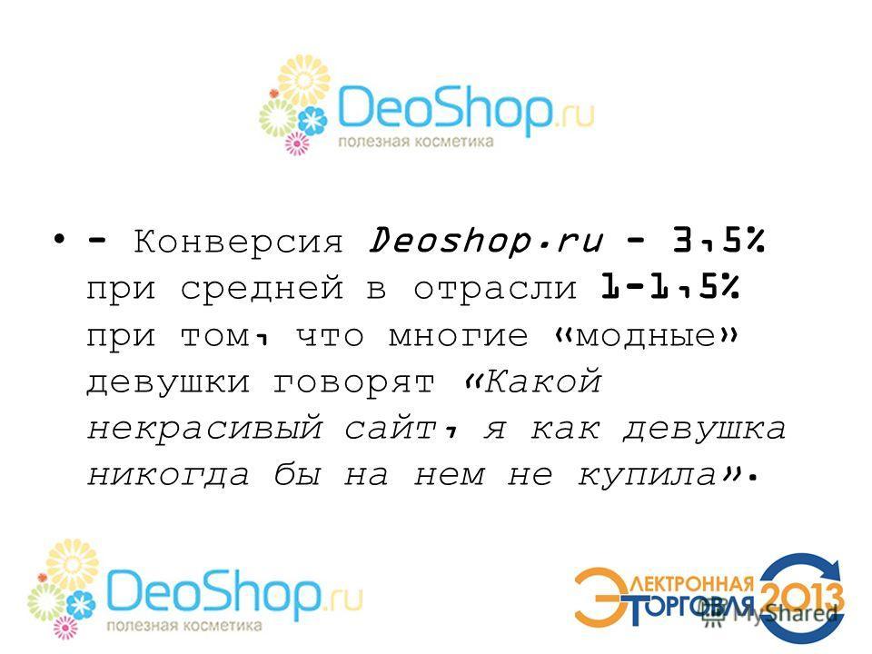 - Конверсия Deoshop.ru - 3,5% при средней в отрасли 1-1,5% при том, что многие «модные» девушки говорят «Какой некрасивый сайт, я как девушка никогда бы на нем не купила».