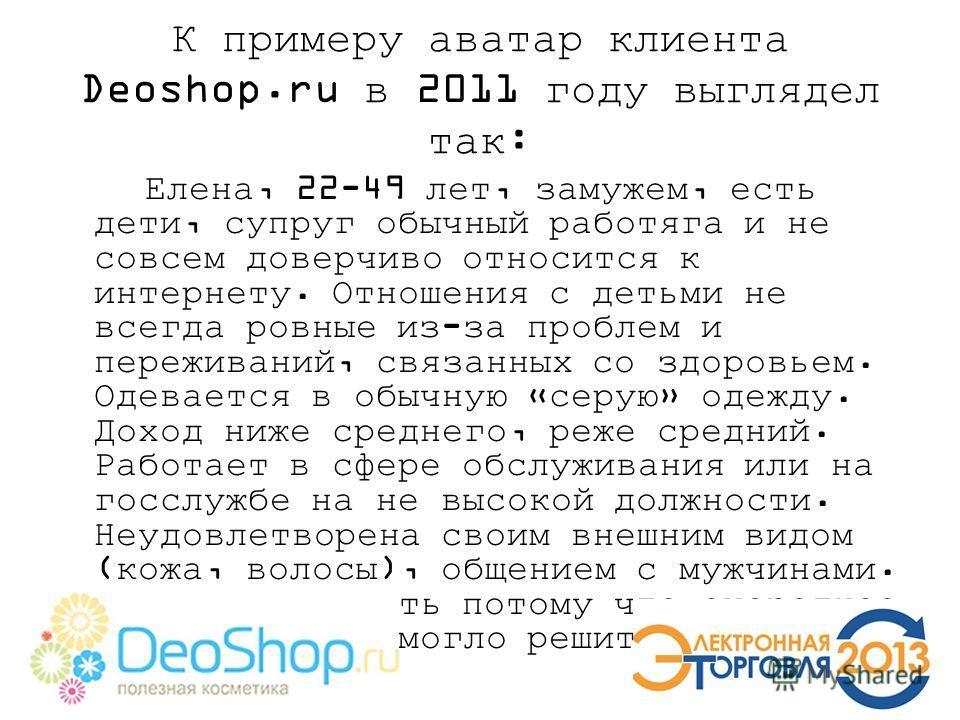К примеру аватар клиента Deoshop.ru в 2011 году выглядел так: Елена, 22-49 лет, замужем, есть дети, супруг обычный работяга и не совсем доверчиво относится к интернету. Отношения с детьми не всегда ровные из-за проблем и переживаний, связанных со здо