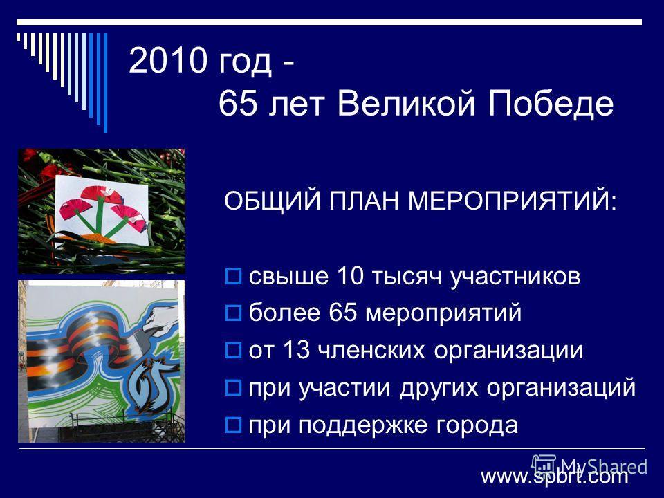 2010 год - 65 лет Великой Победе ОБЩИЙ ПЛАН МЕРОПРИЯТИЙ: свыше 10 тысяч участников более 65 мероприятий от 13 членских организации при участии других организаций при поддержке города www.spbrt.com