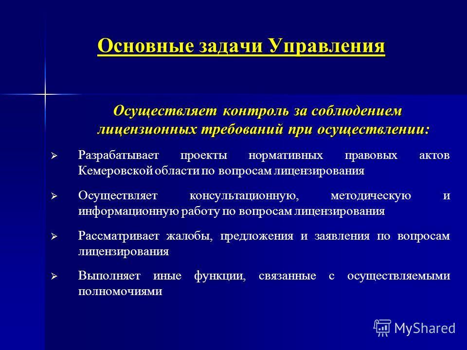 Основные задачи Управления Осуществляет контроль за соблюдением лицензионных требований при осуществлении: Осуществляет контроль за соблюдением лицензионных требований при осуществлении: Разрабатывает проекты нормативных правовых актов Кемеровской об