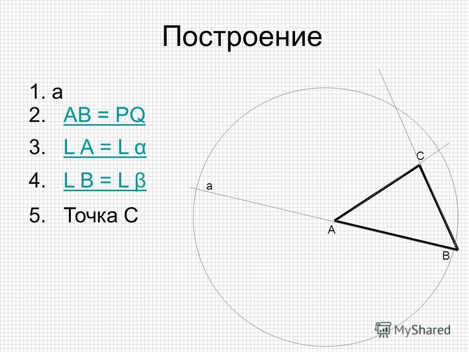 С 5. Точка С 2. АВ = PQАВ = PQ В А 3. L А = L αL А = L α а 1. а Построение 4. L В = L βL В = L β