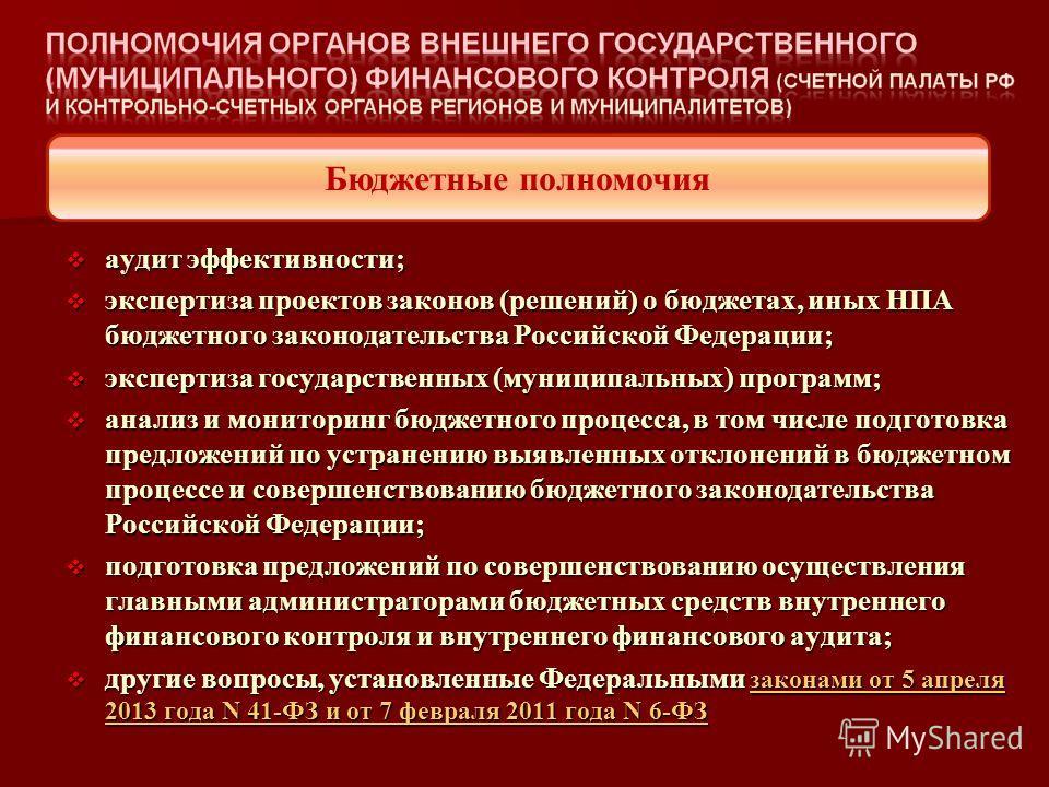 аудит эффективности; аудит эффективности; экспертиза проектов законов (решений) о бюджетах, иных НПА бюджетного законодательства Российской Федерации; экспертиза проектов законов (решений) о бюджетах, иных НПА бюджетного законодательства Российской Ф
