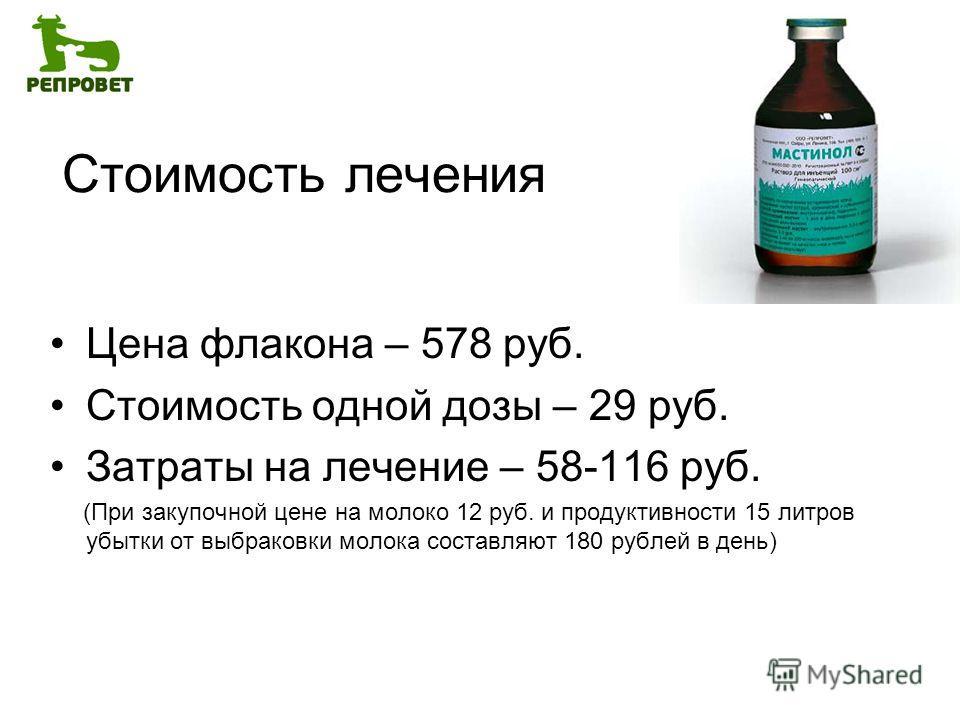 Стоимость лечения Цена флакона – 578 руб. Стоимость одной дозы – 29 руб. Затраты на лечение – 58-116 руб. (При закупочной цене на молоко 12 руб. и продуктивности 15 литров убытки от выбраковки молока составляют 180 рублей в день)