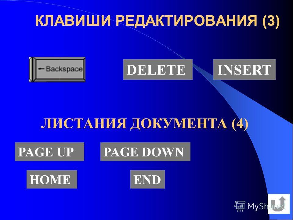 КЛАВИШИ РЕДАКТИРОВАНИЯ (3) DELETEINSERT PAGE UPPAGE DOWN HOMEEND ЛИСТАНИЯ ДОКУМЕНТА (4)