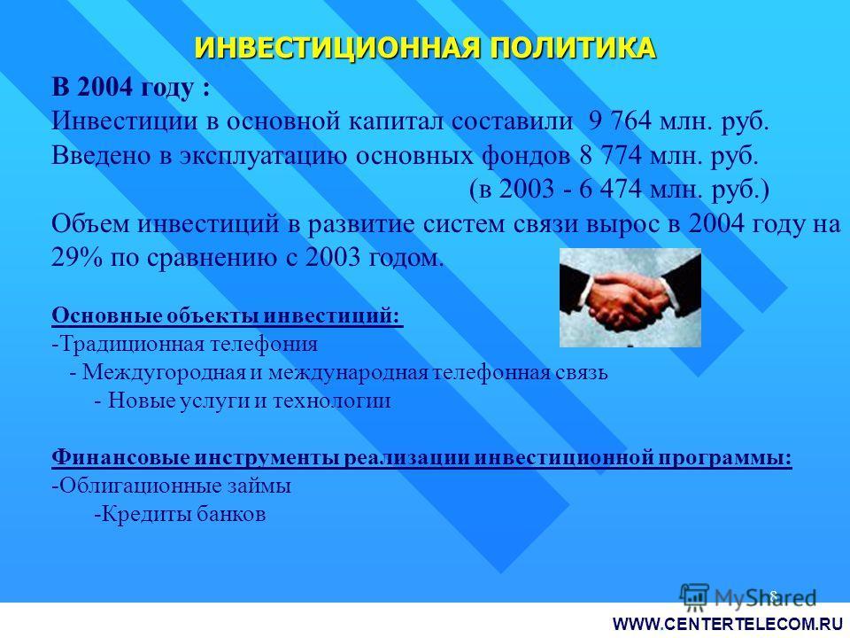8 ИНВЕСТИЦИОННАЯ ПОЛИТИКА В 2004 году : Инвестиции в основной капитал составили 9 764 млн. руб. Введено в эксплуатацию основных фондов 8 774 млн. руб. (в 2003 - 6 474 млн. руб.) Объем инвестиций в развитие систем связи вырос в 2004 году на 29% по сра