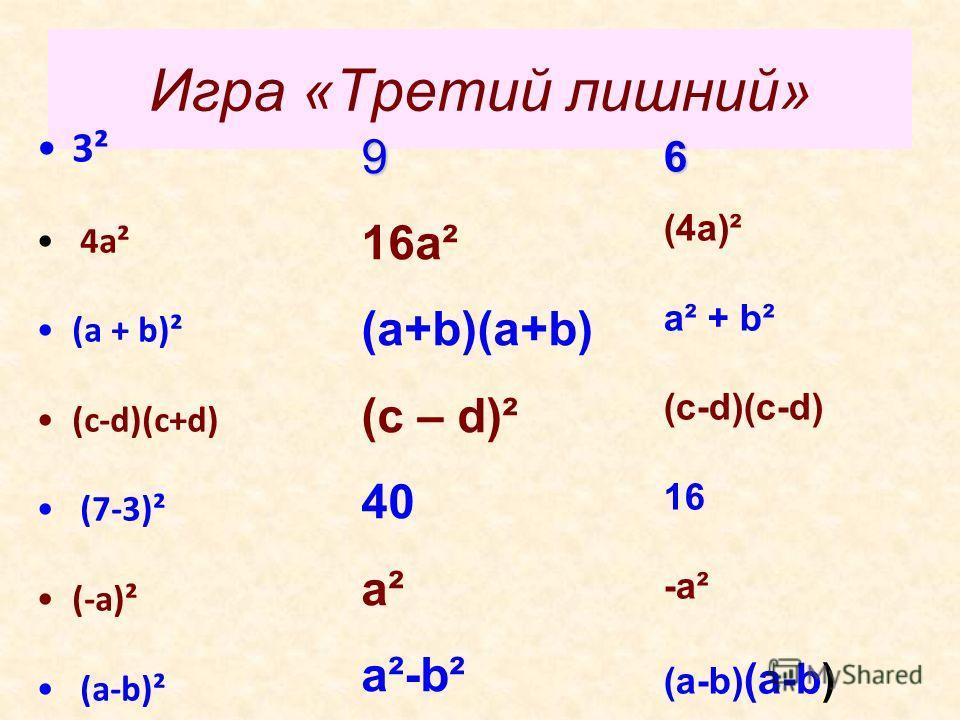 Игра «Третий лишний» 3² 4а² (а + b)² (c-d)(c+d) (7-3)² (-a)² (a-b)² 9 16а² (a+b)(a+b) (c – d)² 40 a² a²-b² 6 (4а)² a² + b² (c-d)(c-d) 16 -a² (a-b) (a-b)