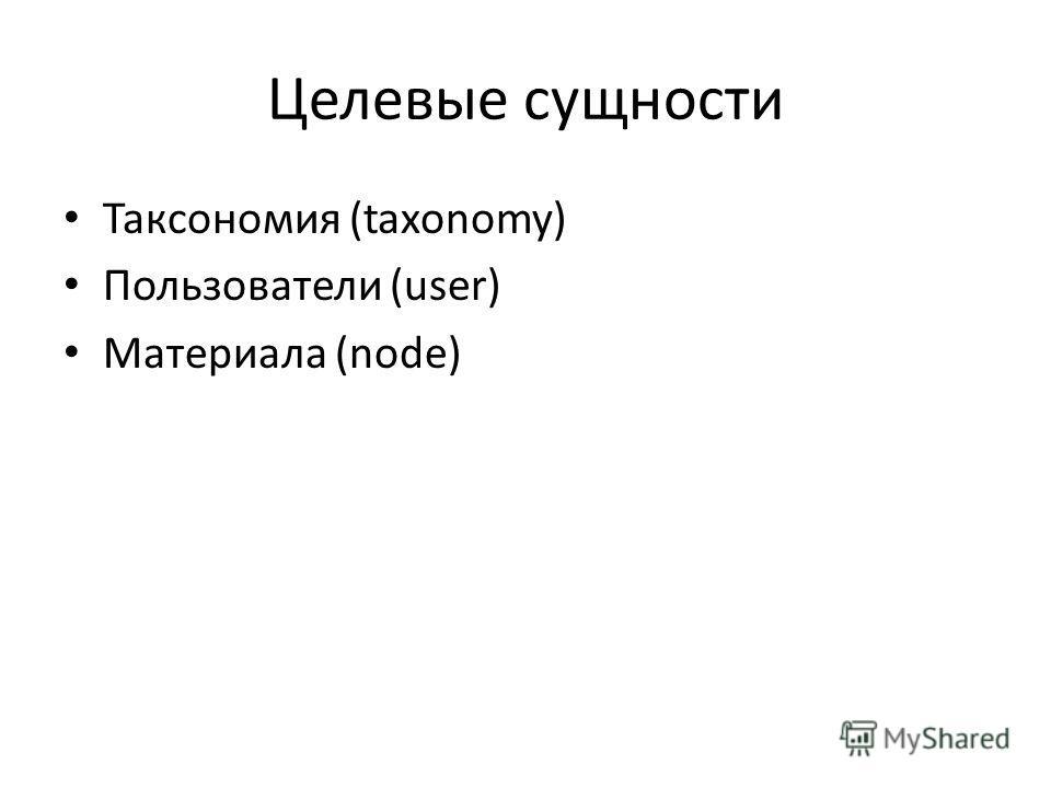 Целевые сущности Таксономия (taxonomy) Пользователи (user) Материала (node)