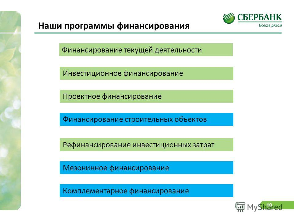 10 Наши программы финансирования Финансирование текущей деятельности Инвестиционное финансирование Проектное финансирование Комплементарное финансирование Рефинансирование инвестиционных затрат Мезонинное финансирование Финансирование строительных об