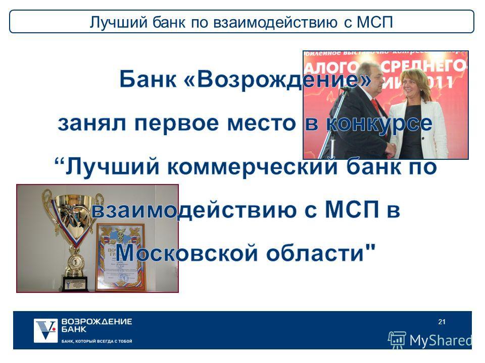 21 Лучший банк по взаимодействию с МСП