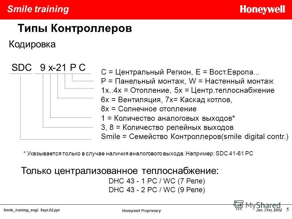 Smile training Smile_training_engl. Sept.02.ppt Honeywell Proprietary Jan. 31st, 2002 5 C = Центральный Регион, E = Вост.Европа... Р = Панельный монтаж, W = Настенный монтаж 1x..4x = Отопление, 5x = Центр.теплоснабжение 6x = Вентиляция, 7x= Каскад ко