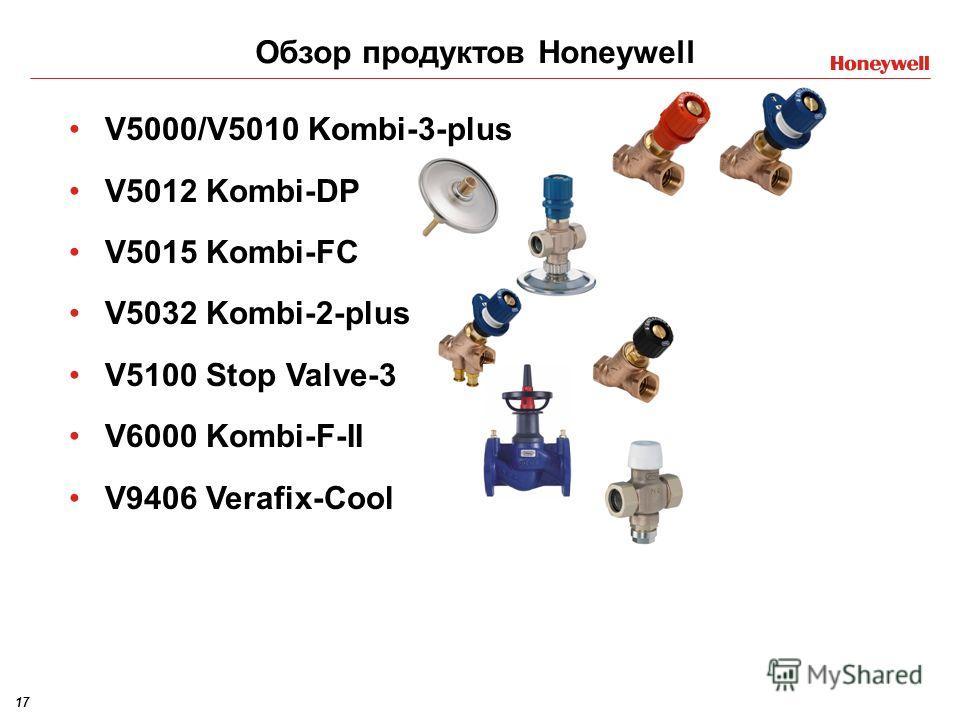 17 V5000/V5010 Kombi-3-plus V5012 Kombi-DP V5015 Kombi-FC V5032 Kombi-2-plus V5100 Stop Valve-3 V6000 Kombi-F-II V9406 Verafix-Cool Обзор продуктов Honeywell