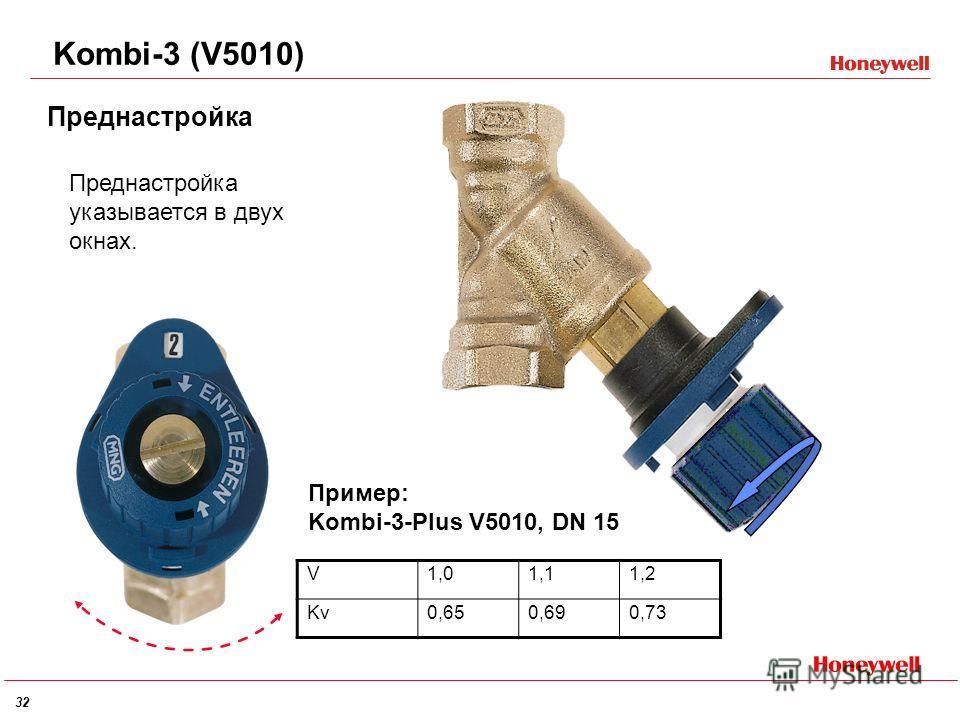 32 Kombi-3 (V5010) Преднастройка Пример: Kombi-3-Plus V5010, DN 15 Преднастройка указывается в двух окнах. V1,01,11,2 Kv0,650,690,73
