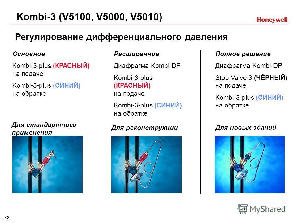 42 Полное решение Диафрагма Kombi-DP Stop Valve 3 (ЧЁРНЫЙ) на подаче Kombi-3-plus (СИНИЙ) на обратке Основное Kombi-3-plus (КРАСНЫЙ) на подаче Kombi-3-plus (СИНИЙ) на обратке Расширенное Диафрагма Kombi-DP Kombi-3-plus (КРАСНЫЙ) на подаче Kombi-3-plu