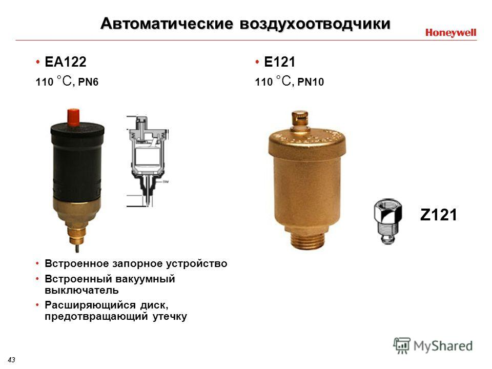 43 Автоматические воздухоотводчики EA122 110 °C, PN6 Встроенное запорное устройство Встроенный вакуумный выключатель Расширяющийся диск, предотвращающий утечку E121 110 °C, PN10 Z121