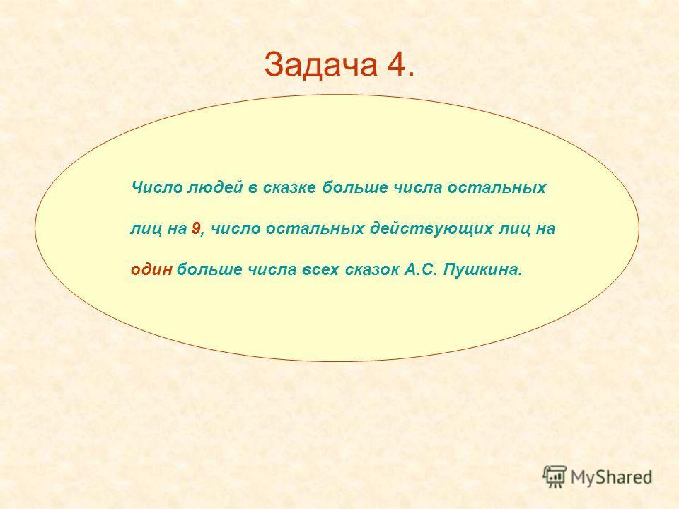 Задача 4. Число людей в сказке больше числа остальных лиц на 9, число остальных действующих лиц на один больше числа всех сказок А.С. Пушкина.