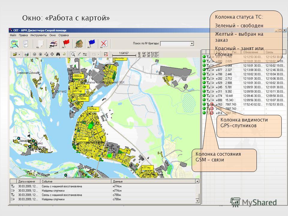 Окно: «Работа с картой» Колонка статуса ТС: Зеленый – свободен Желтый – выбран на заказ Красный – занят или сломан Колонка состояния GSM - связи Колонка видимости GPS-спутников