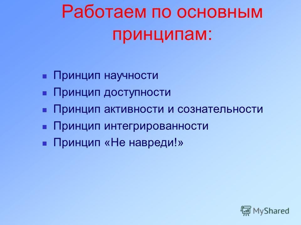 Работаем по основным принципам: Принцип научности Принцип доступности Принцип активности и сознательности Принцип интегрированности Принцип «Не навреди!»