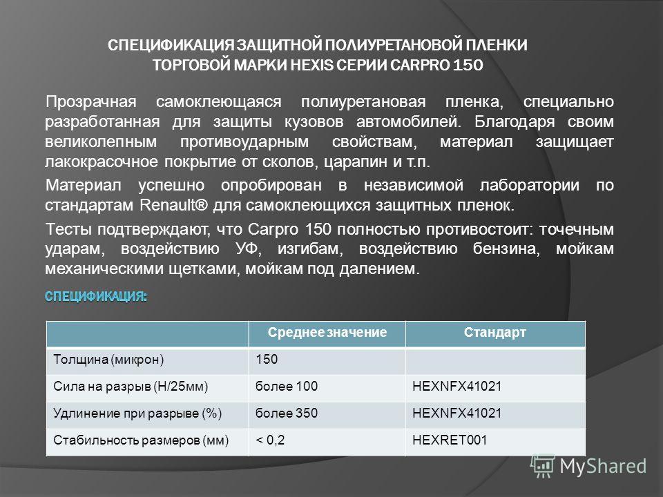 Среднее значениеСтандарт Толщина (микрон)150 Сила на разрыв (Н/25мм)более 100HEXNFX41021 Удлинение при разрыве (%)более 350HEXNFX41021 Стабильность размеров (мм)< 0,2HEXRET001 Прозрачная самоклеющаяся полиуретановая пленка, специально разработанная д