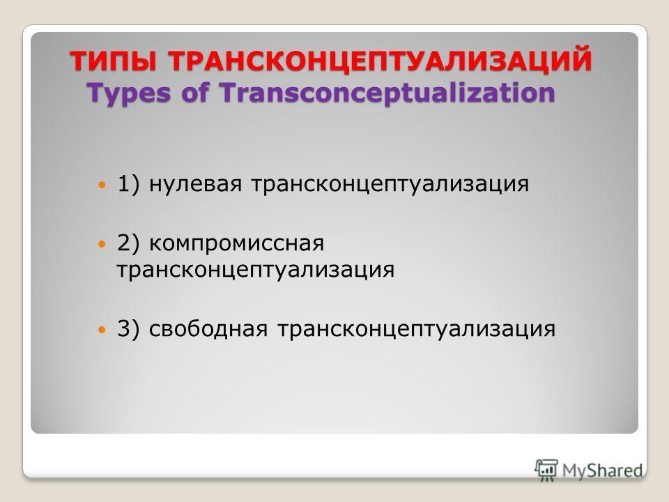 ТИПЫ ТРАНСКОНЦЕПТУАЛИЗАЦИЙ Types of Transconceptualization 1) нулевая трансконцептуализация 2) компромиссная трансконцептуализация 3) свободная трансконцептуализация